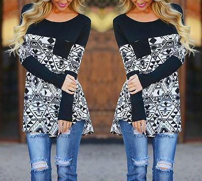 Fashion Women's Casual Loose Tops Long Sleeve T-Shirt Floral Print Cotton Blouse