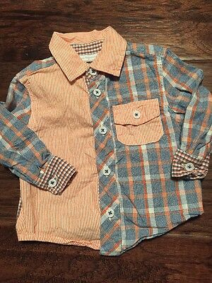 First Impressions Boy Button Down Shirt Long Sleeve 100% Cotton 6-9M