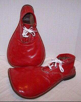 Vintage All Leather Red Professional Clown Shoes Size Men's 10 Circus Big Top