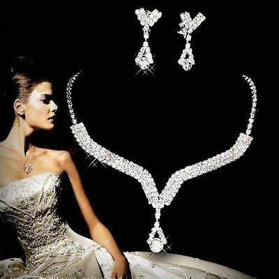 Women Bridemaid Bridal Jewelry Wedding Crystal Rhinestone Earrings Necklace Sets