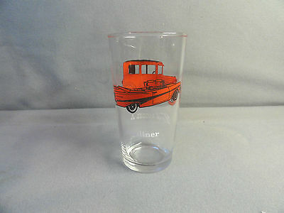 """Vintage FORD MODEL A and Sunliner Drink Glass Anchor Hocking 5"""" Thumbler MINT"""