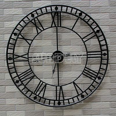 80cm Stunning Extra Large Black Metal Wall Clock Black Skeleton Wall Clock