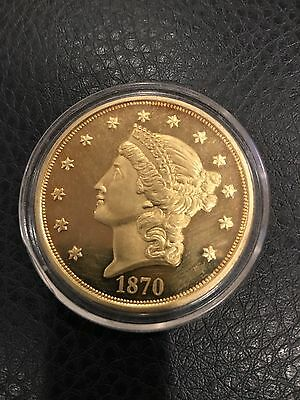 1870 CC  Liberty Twenty D Copy Coin Gold Plated