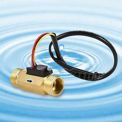 "New G1/2"" G3/4"" Copper Hall Effect Liquid Water Flow Sensor Switch Flowmeter AM"