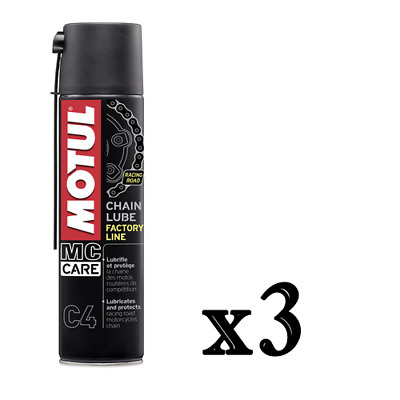 3 X 400 ML Grasso Spray adesivo Motul C4 Chain Lube Factory Line per Catena moto