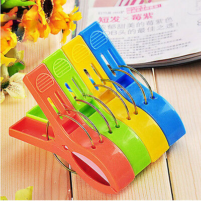 4Pcs Plastic Large Clip For Beach Towel Sun Cloths Clip Lounger Sunbed Peg Kit
