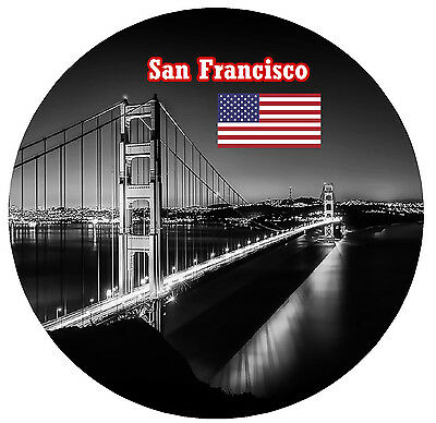 San Francisco, Usa / Flag / Sights - Round Souvenir Fridge Magnet - New - Gifts