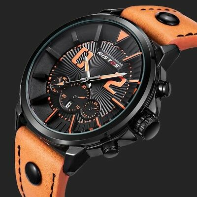Mens Military Waterproof Date Leather Strap Army Sport Analog Quartz Wrist Watch