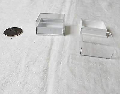 Jewellery Display* Clear Perspex Plastic Boxes Lot Of 63 Pre-Used 41 X 35 X 21Mm