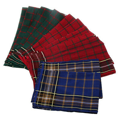 12 Pieces Mens HANDKERCHIEFS 100% Cotton Pocket Check Hanky Handkerchief