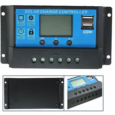Regulador solar de 20A 12V con display y 2 USB  LCD KLD1220