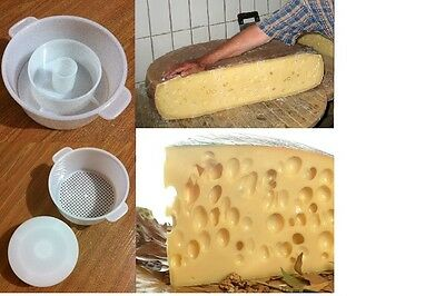 Emmental Hard Cheese Full Making Kit + Mold With Follower Large For 2.2lbs /1kg