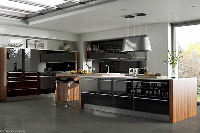 Laser Edged Black High Gloss Replacement Kitchen Cabinet Unit Doors Drawer Front