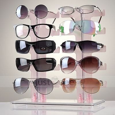 Double  Two 2 Row 10 Pair Sunglasses Glasses Rack Holder Frame Display Stand