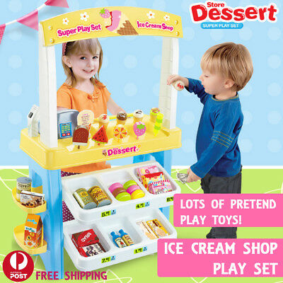 YELLOW Children Toy Store Ice Cream Stand Pretend Play Shop Booth Supermarket