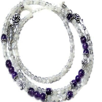 Reading eye glasses, spectacle chain, holder, lanyard purple Amethyst