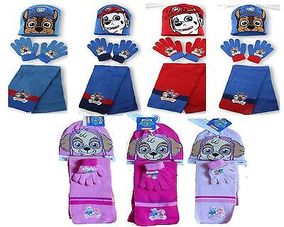 New Kids Girls Boys Nickelodeon Paw Patrol Winter Knitted Hat, Scarf & Glove Set