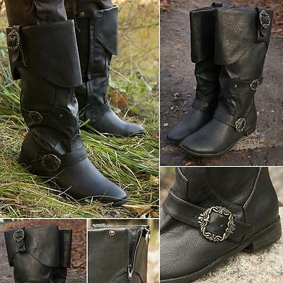 Buckled Calf High Pirate / Highwayman Synthetic Leather Boots LARP