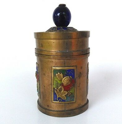 "Antique Chinese Brass Snuff Jar Enamel Lidded Blue Finial 4"" Beautiful"