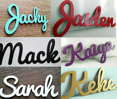 Personalised wooden laser cut name wall sign, door, room sign baby name colours