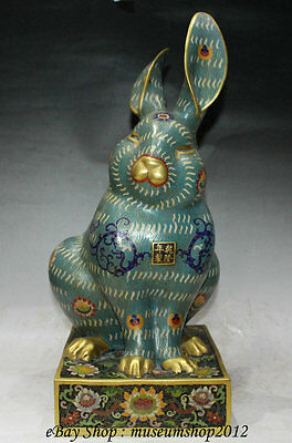 "19""Old Chinese Cloisonne Enamel Bronze 24K Gold Royal Palace Stand Rabbit Statue"
