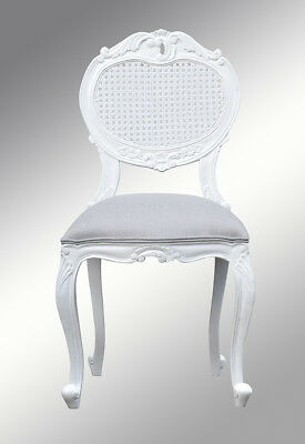 Louis XV Renee Chair  - Grey Twill  and  French  White colour
