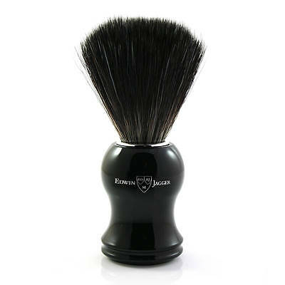 Edwin Jagger Black Synthetic Fibre Fill Shaving Brush – Ebony Black Finish 21P36