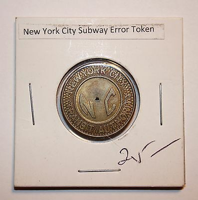 Vintage ERROR 1950's NYC New York City Transit  Token. NO CUT OUT. Rare #6609