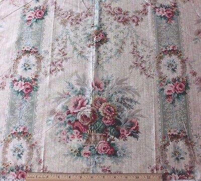French Antique 19thC Floral, Roses & Baskets Satinized Cotton Fabric Sample~Home