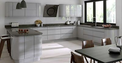 Gemini Handleless Dove Grey Gloss Replacement Kitchen Cabinet Doors Drawer Front