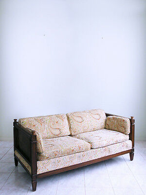 mid century SPANISH REVIVAL mod french moroccan gothic CANE loveseat sofa SETEE