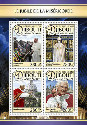Djibouti 2016 MNH Year Jubilee of Mercy Pope Francis Benedict XVI 4v M/S Stamps