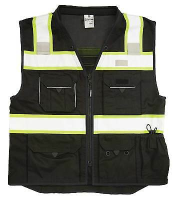 ML KISHIGO B500 Safety Vest, Black with lime yellow and silver reflective XL