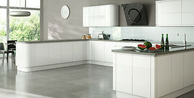 Larissa Handleless White Gloss Replacement Kitchen Cabinet Doors Drawer Fronts