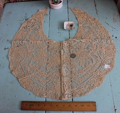 Swiss-French Vintage Cotton Lace Large Rose Collar/Dress Front c1930~Womensware