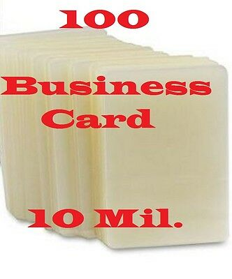Business Card 100 pk 10 Mil Quality Laminating Laminator Pouches Sheets ...