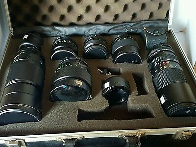 VINTAGE CAMERA LENSES WITH ELECTRONIC FLASH & ADAPTER RING W/ CASE ( 7 lenses )