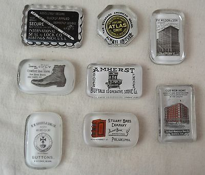 Collection 19th C Glass Advertisting Paperweights