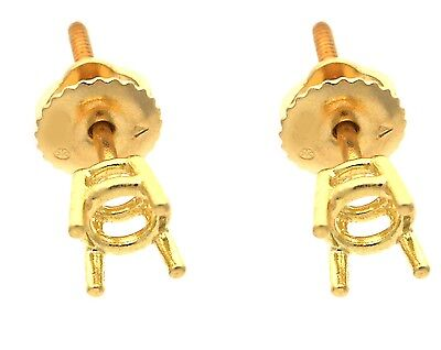 4 Prong Screw Back Basket Stud Earring Mounting 14K Yellow Gold For 1.00Ct Total