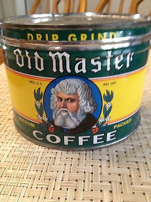 Vintage 1 Lb. Old Master Coffee Tin / Can
