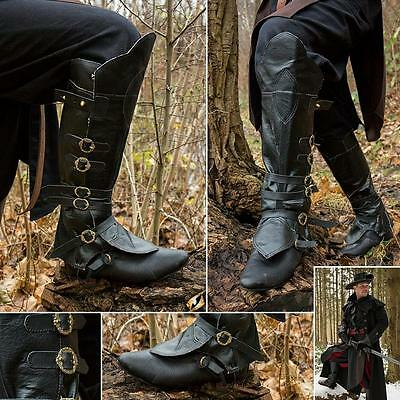 Pirate / Highwayman Boot Topper Gaiter with Brass Buckles Ideal for LARP