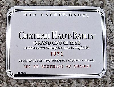 Vintage Wine Label 1971 Chateau Haut-Bailly Grand Cru Classe