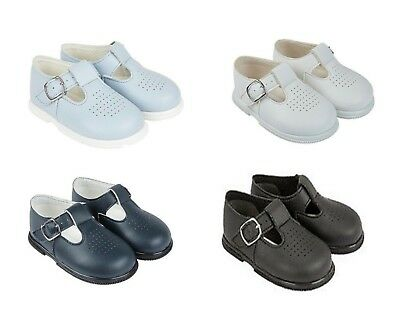 New Baypods Baby Boy Punch Detail T-Bar Shoes In Three Colour Sky/white/navy