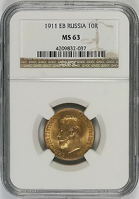 1911 EB Russia Gold 10R 10 Roubles NGC MS63