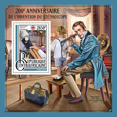 Central African Rep 2016 MNH Stethoscope 200th Anniv 1v S/S Medical Stamps