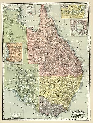 1898   Rand McNally & Co Indexed Atlas Map of Australia (original antique map)