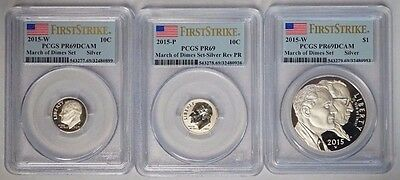 2015 P & W March of Dimes 3 Coin Set PCGS PR69DCAM & Reverse PR69 First Strike