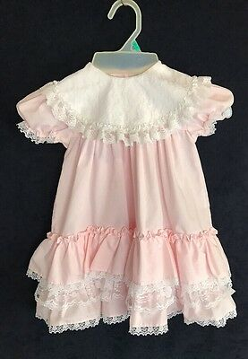 Vintage Baby Girl's Party Dress Toddler 3T Pink Ruffle Lace Tiers Alexis