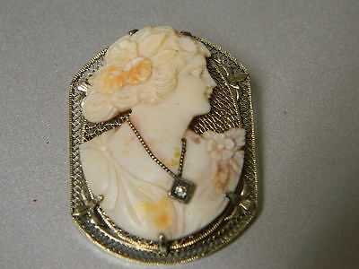 Antique Victorian Shell Cameo Brooch / Pendant with Diamond and 14K Gold Mount