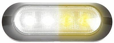 Maxxima M20384WYCL White/Amber 4 LED Warning Strobe Light  Grille/deck